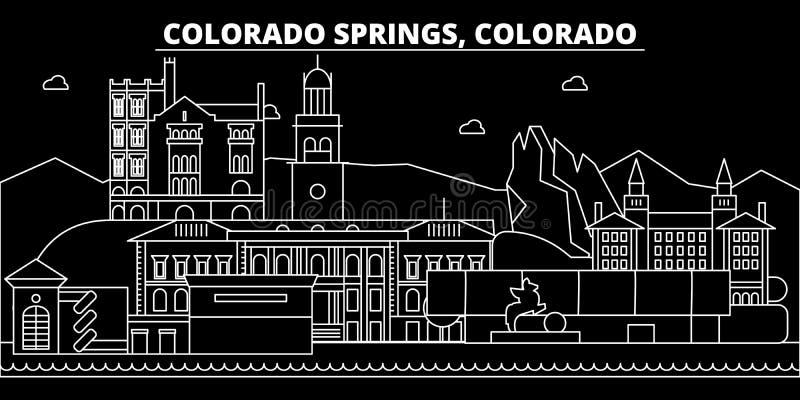 Ορίζοντας σκιαγραφιών του Colorado Springs ΗΠΑ - Διανυσματική πόλη του Colorado Springs, αμερικανική γραμμική αρχιτεκτονική Color διανυσματική απεικόνιση