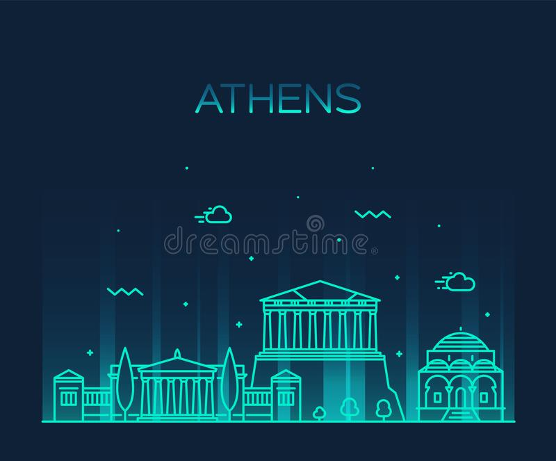 Ορίζοντας της Αθήνας, Ελλάδα διανυσματική γραμμική πόλη ύφους απεικόνιση αποθεμάτων