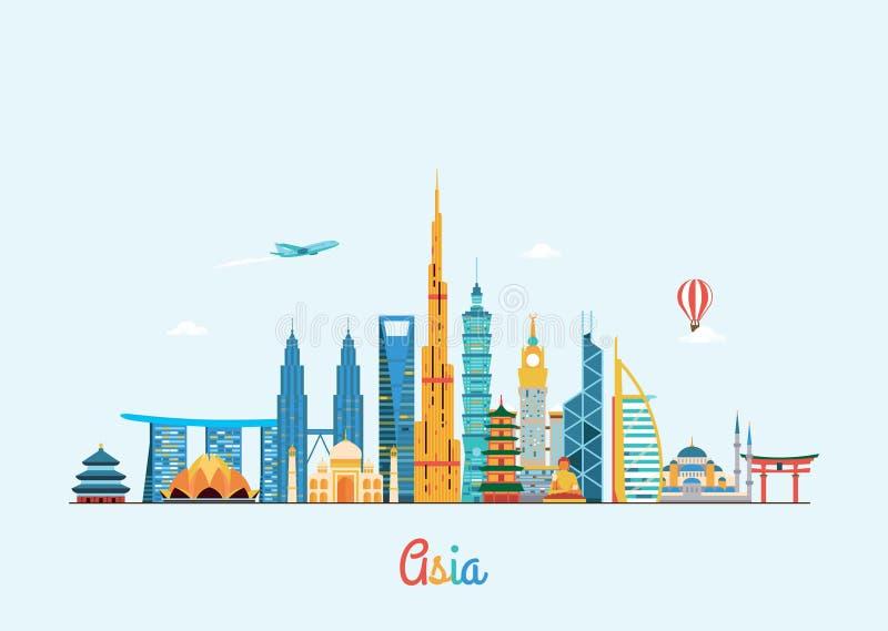 Ορίζοντας της Ασίας Υπόβαθρο ταξιδιού και τουρισμού διανυσματική απεικόνιση