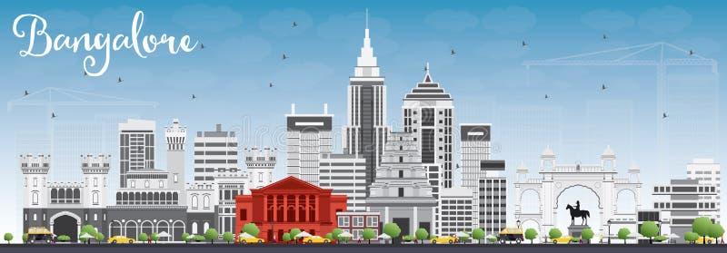 Ορίζοντας της Βαγκαλόρη με τα γκρίζους κτήρια και το μπλε ουρανό ελεύθερη απεικόνιση δικαιώματος