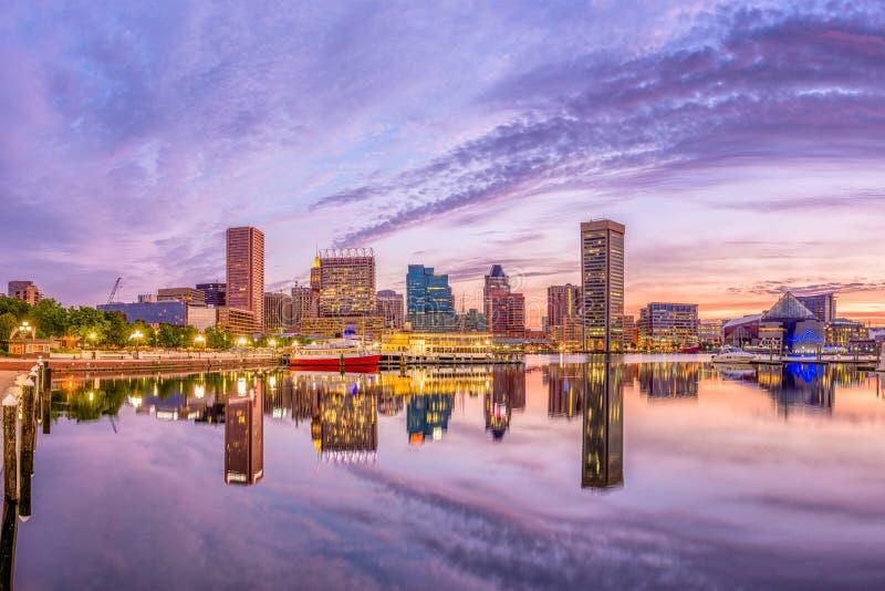 Ορίζοντας της Βαλτιμόρης, Μέρυλαντ, ΗΠΑ στοκ εικόνα με δικαίωμα ελεύθερης χρήσης