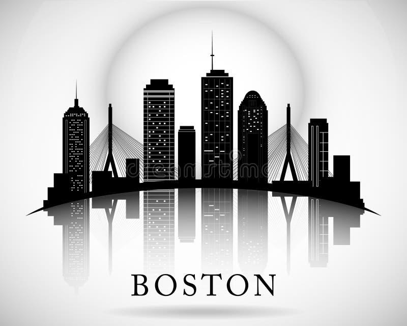Ορίζοντας της Βοστώνης Σκιαγραφία πόλεων ελεύθερη απεικόνιση δικαιώματος
