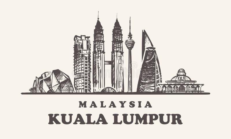 Ορίζοντας της Κουάλα Lampur, εκλεκτής ποιότητας διανυσματική απεικόνιση της Μαλαισίας, συρμένα χέρι κτήρια ελεύθερη απεικόνιση δικαιώματος