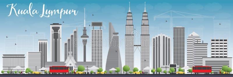 Ορίζοντας της Κουάλα Λουμπούρ με τα γκρίζους κτήρια και το μπλε ουρανό απεικόνιση αποθεμάτων