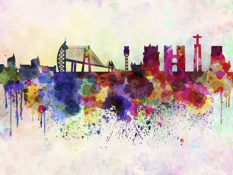 Ορίζοντας της Λισσαβώνας στο υπόβαθρο watercolor ελεύθερη απεικόνιση δικαιώματος
