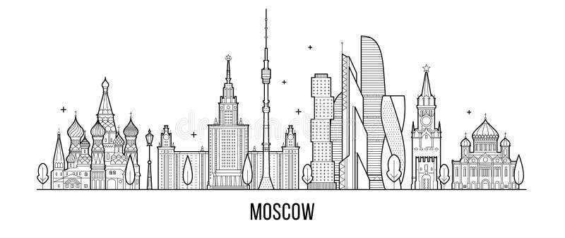 Ορίζοντας της Μόσχας, διανυσματική γραμμή κτηρίων πόλεων της Ρωσίας απεικόνιση αποθεμάτων