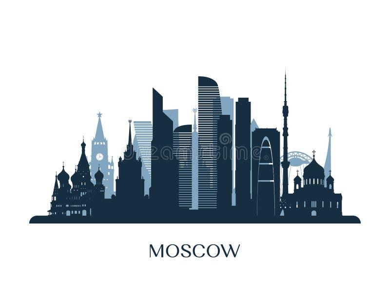 Ορίζοντας της Μόσχας, μονοχρωματική σκιαγραφία ελεύθερη απεικόνιση δικαιώματος