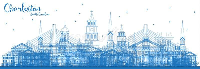 Ορίζοντας της νότιας Καρολίνας του Τσάρλεστον περιλήψεων με τα μπλε κτήρια απεικόνιση αποθεμάτων