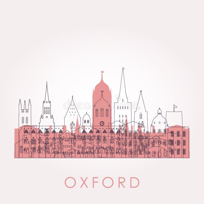 Ορίζοντας της Οξφόρδης περιλήψεων με τα ορόσημα ελεύθερη απεικόνιση δικαιώματος