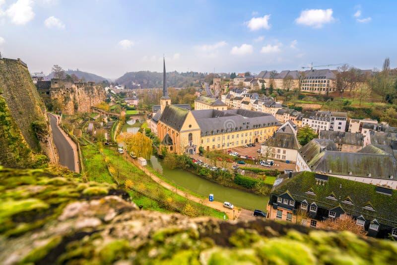 Ορίζοντας της παλαιάς λουξεμβούργιας πόλης κωμοπόλεων από τη τοπ άποψη στοκ φωτογραφίες