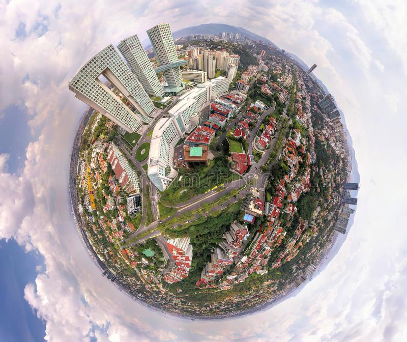 Ορίζοντας της Πόλης του Μεξικού - μικροσκοπική παγκόσμια επίδραση στοκ εικόνες
