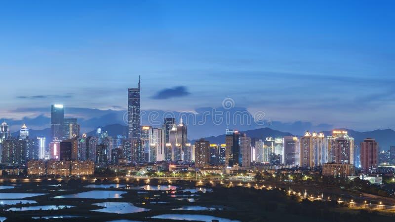 Ορίζοντας της πόλης Shenzhen, Κίνα στοκ εικόνες