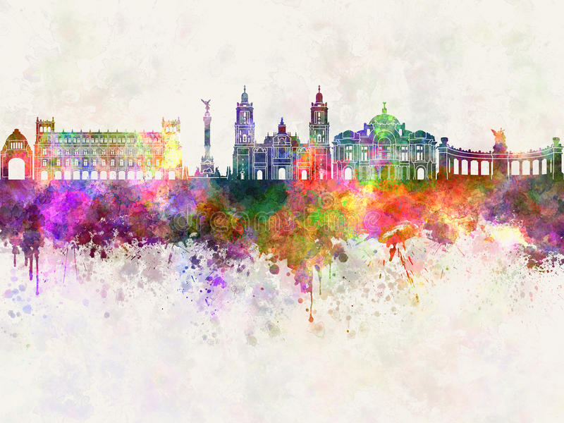 Ορίζοντας της Πόλης του Μεξικού V2 στο watercolor απεικόνιση αποθεμάτων
