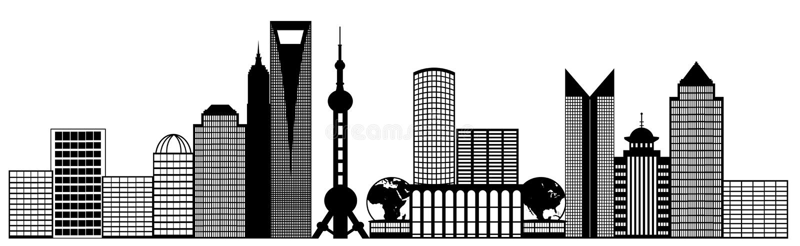 ορίζοντας της Σαγγάης πανοράματος συνδετήρων πόλεων τέχνης pudong απεικόνιση αποθεμάτων
