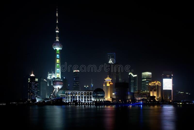 Ορίζοντας της Σαγκάη τή νύχτα στοκ εικόνες