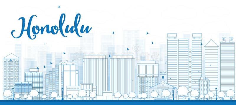 Ορίζοντας της Χονολουλού περιλήψεων με τα μπλε κτήρια Χαβάη ελεύθερη απεικόνιση δικαιώματος