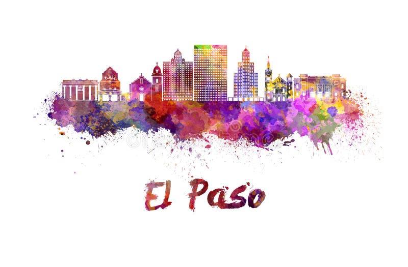 Ορίζοντας του Ελ Πάσο στο watercolor ελεύθερη απεικόνιση δικαιώματος