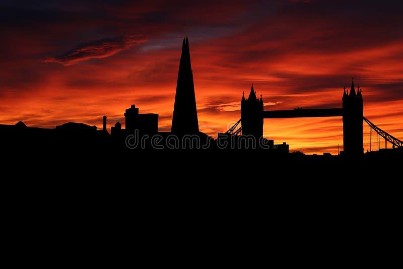 Ορίζοντας του Λονδίνου στην απεικόνιση ηλιοβασιλέματος στοκ εικόνες