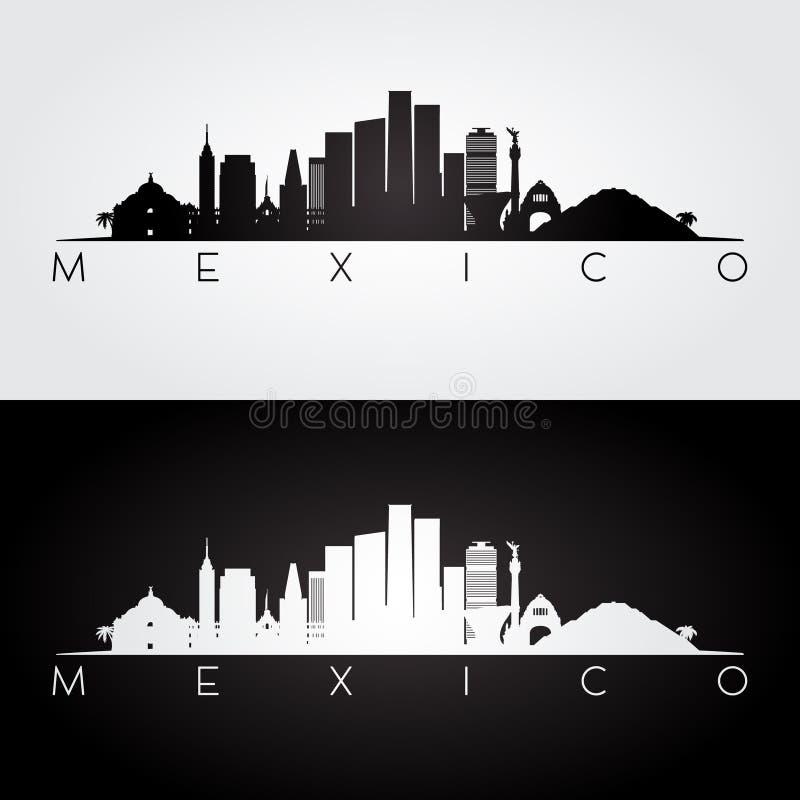 Ορίζοντας του Μεξικού και σκιαγραφία ορόσημων απεικόνιση αποθεμάτων