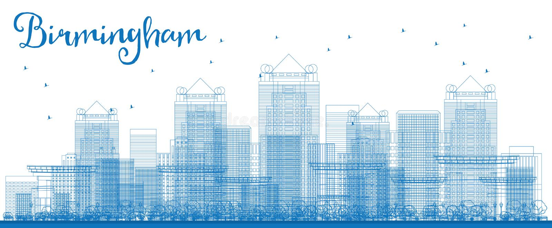 Ορίζοντας του Μπέρμιγχαμ περιλήψεων (Αλαμπάμα) με τα μπλε κτήρια απεικόνιση αποθεμάτων