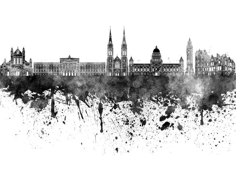 Ορίζοντας του Μπέλφαστ στο μαύρο watercolor διανυσματική απεικόνιση