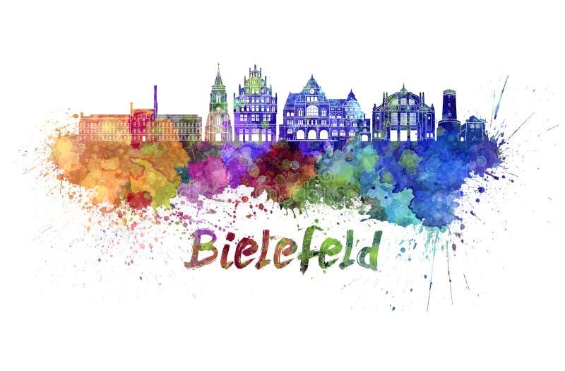 Ορίζοντας του Μπίλφελντ στο watercolor splatter στοκ εικόνα με δικαίωμα ελεύθερης χρήσης