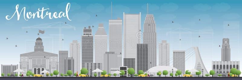 Ορίζοντας του Μόντρεαλ με τα γκρίζους κτήρια και το μπλε ουρανό απεικόνιση αποθεμάτων