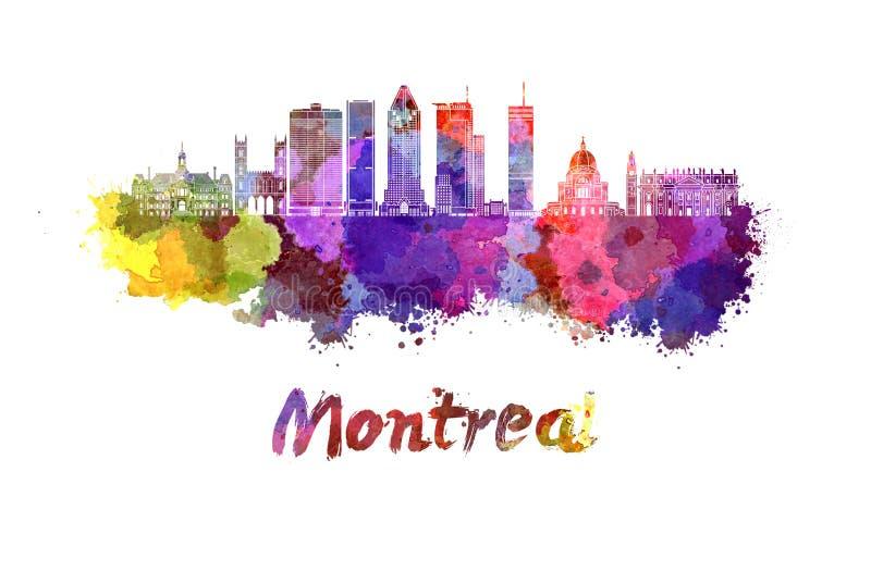 Ορίζοντας του Μόντρεαλ στα splatters watercolor διανυσματική απεικόνιση