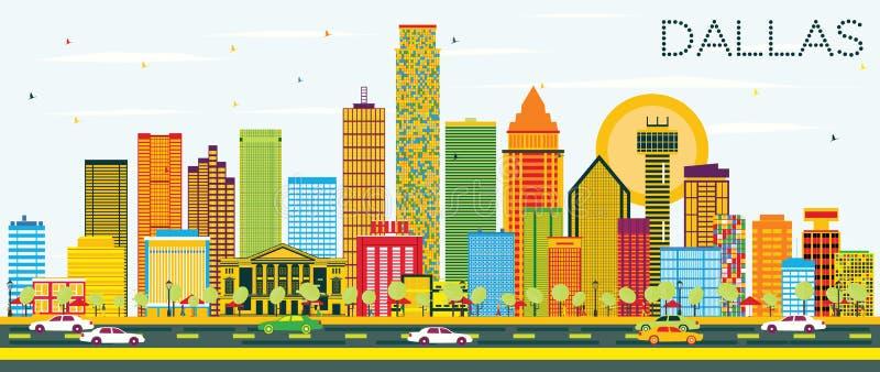 Ορίζοντας του Ντάλλας με τα κτήρια και το μπλε ουρανό χρώματος διανυσματική απεικόνιση