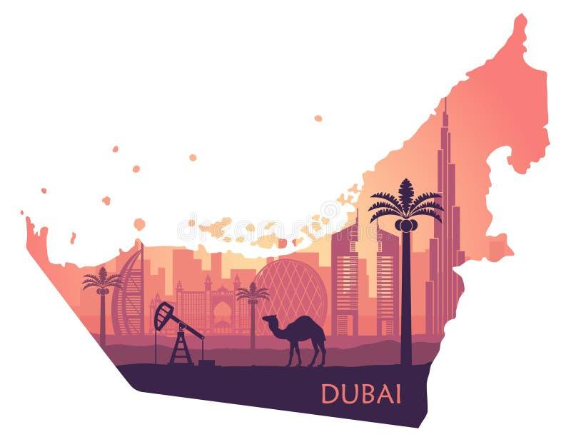 Ορίζοντας του Ντουμπάι με την καμήλα υπό μορφή χάρτη των Ηνωμένων Αραβικών Εμιράτων απεικόνιση αποθεμάτων