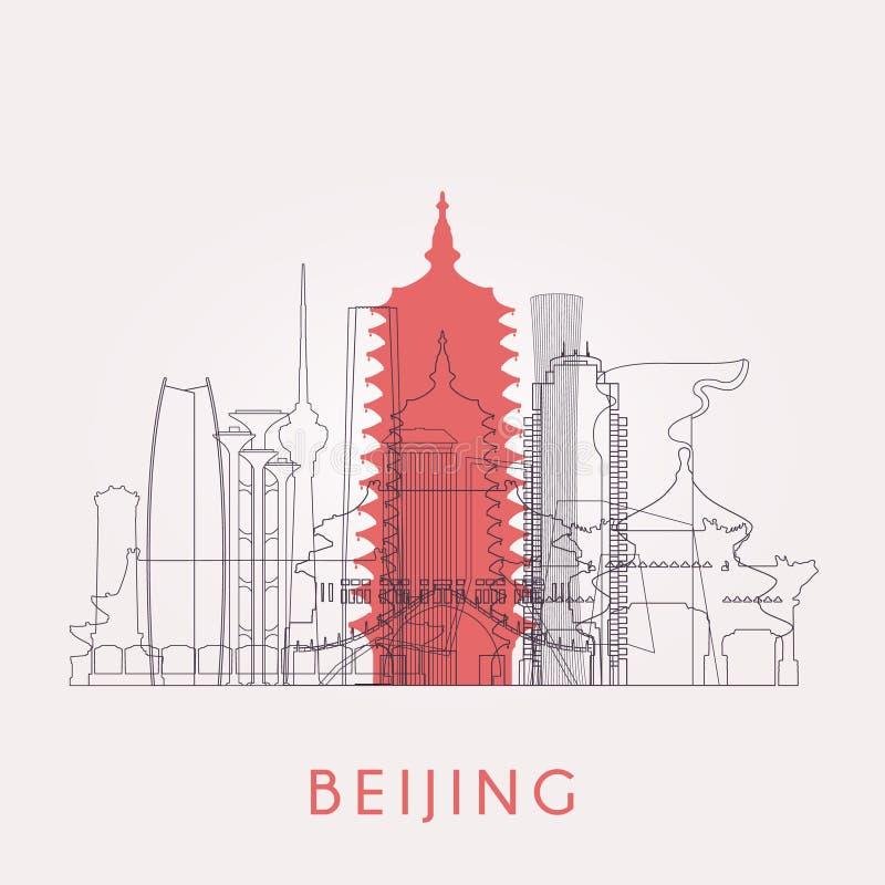 Ορίζοντας του Πεκίνου περιλήψεων με τα ορόσημα διανυσματική απεικόνιση
