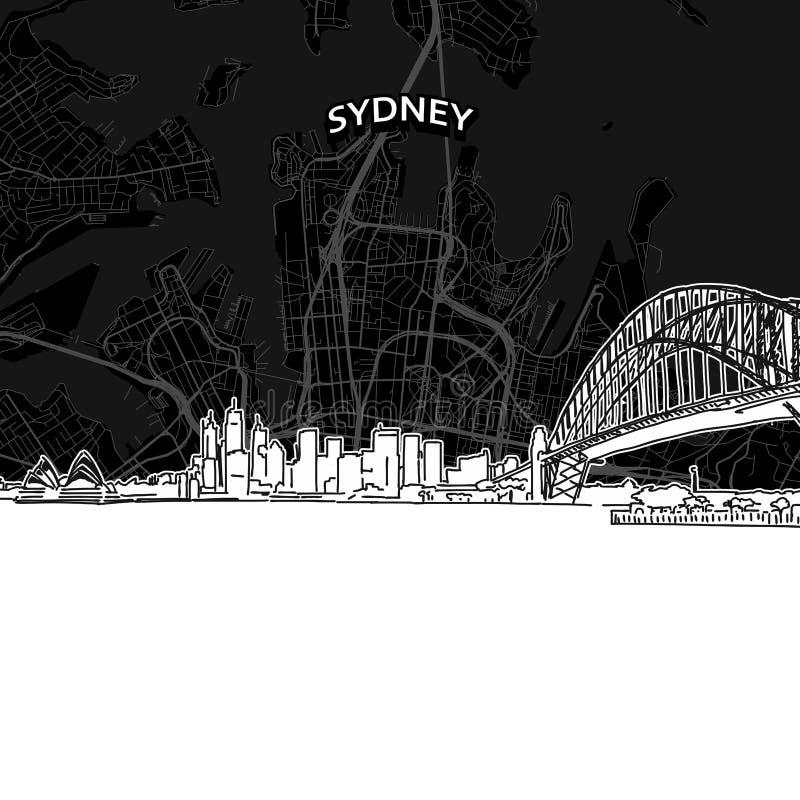 Ορίζοντας του Σίδνεϊ με το χάρτη διανυσματική απεικόνιση
