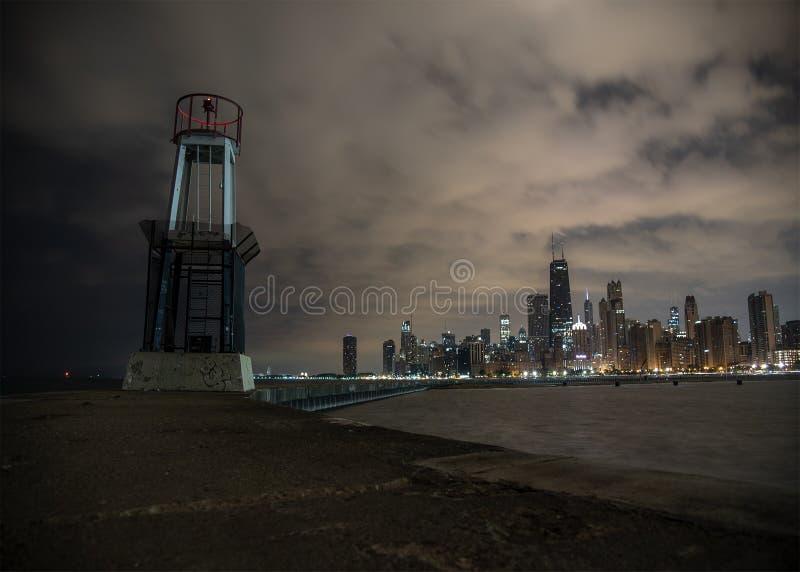 Ορίζοντας του Σικάγου από την παραλία βόρειου Ave στοκ εικόνα με δικαίωμα ελεύθερης χρήσης