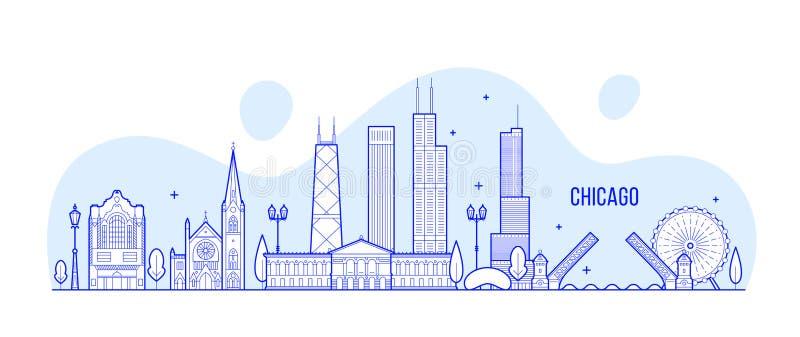 Ορίζοντας του Σικάγου, κτήρια ΑΜΕΡΙΚΑΝΙΚΩΝ διανυσματικά πόλεων γραμμικά απεικόνιση αποθεμάτων