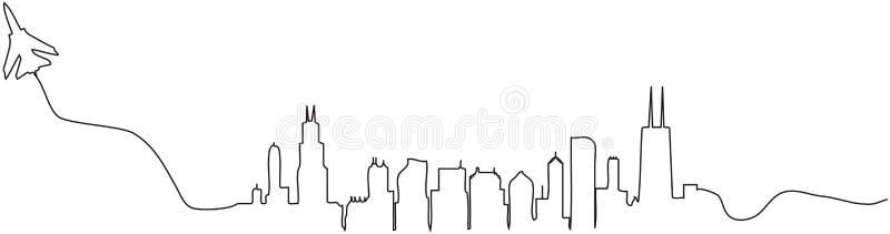 Ορίζοντας του Σικάγου απεικόνιση αποθεμάτων