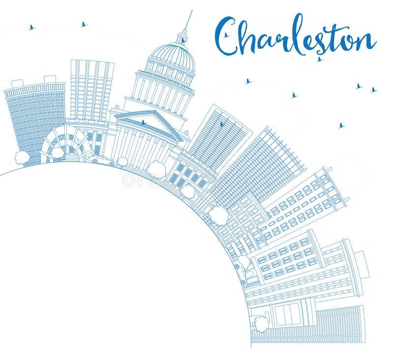 Ορίζοντας του Τσάρλεστον περιλήψεων με τα μπλε κτήρια και το διάστημα αντιγράφων διανυσματική απεικόνιση