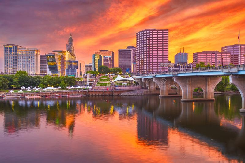 Ορίζοντας του Χάρτφορντ, Κοννέκτικατ, ΗΠΑ στοκ εικόνα με δικαίωμα ελεύθερης χρήσης