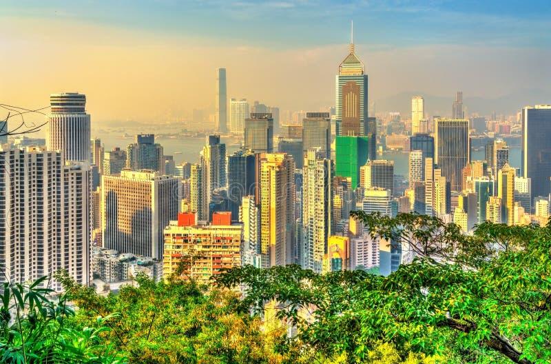 Ορίζοντας του Χονγκ Κονγκ από την αιχμή Βικτώριας στοκ φωτογραφίες