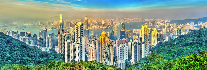 Ορίζοντας του Χονγκ Κονγκ από την αιχμή Βικτώριας στοκ εικόνες με δικαίωμα ελεύθερης χρήσης