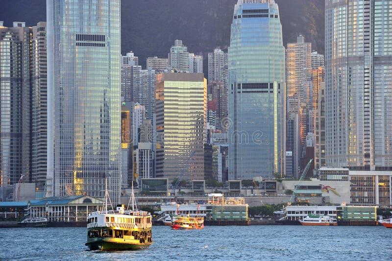 Ορίζοντας του Χονγκ Κονγκ στο ηλιοβασίλεμα. στοκ εικόνες με δικαίωμα ελεύθερης χρήσης