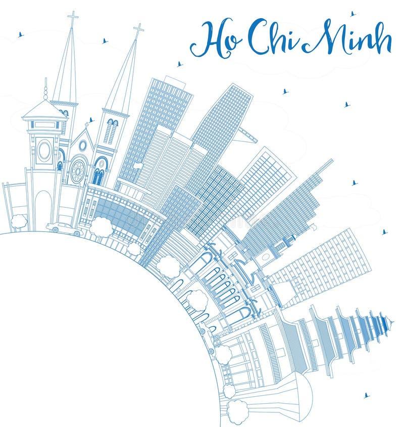 Ορίζοντας του Ho Chi Minh περιλήψεων με τα μπλε κτήρια και το διάστημα αντιγράφων απεικόνιση αποθεμάτων