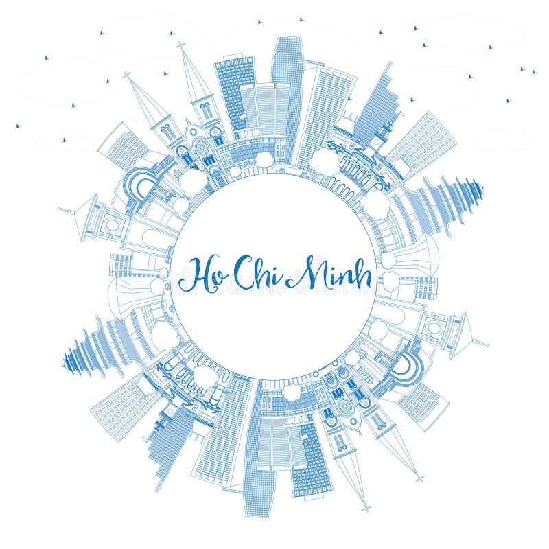 Ορίζοντας του Ho Chi Minh περιλήψεων με τα μπλε κτήρια και το διάστημα αντιγράφων ελεύθερη απεικόνιση δικαιώματος