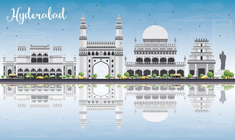 Ορίζοντας του Hyderabad με τα γκρίζο ορόσημα, το μπλε ουρανό και τις αντανακλάσεις απεικόνιση αποθεμάτων