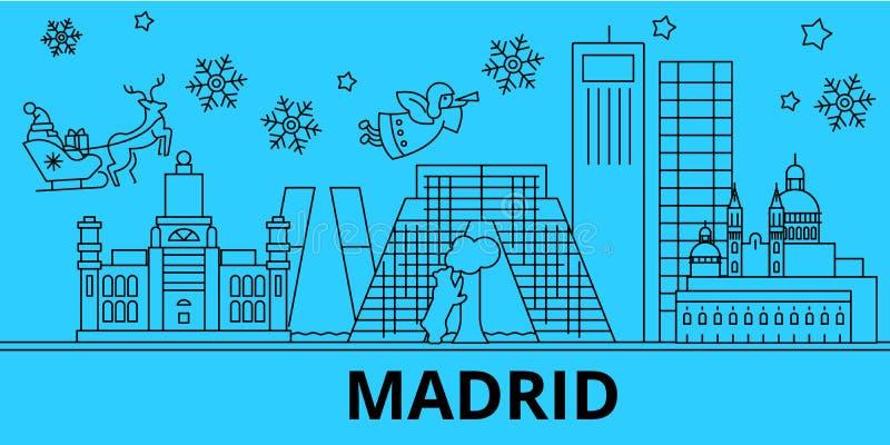 Ορίζοντας χειμερινών διακοπών της Ισπανίας, Μαδρίτη Χαρούμενα Χριστούγεννα, διακοσμημένο καλή χρονιά έμβλημα με Άγιο Βασίλη Ισπαν διανυσματική απεικόνιση
