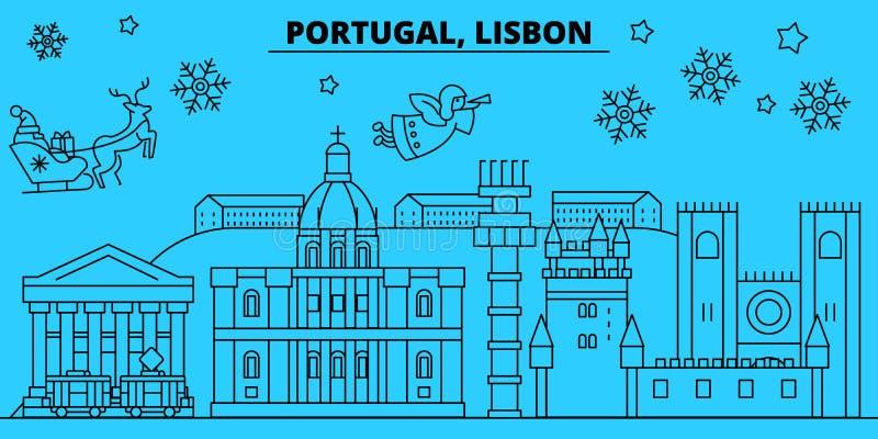 Ορίζοντας χειμερινών διακοπών της Πορτογαλίας, Λισσαβώνα Χαρούμενα Χριστούγεννα, διακοσμημένο καλή χρονιά έμβλημα με Άγιο Βασίλη  ελεύθερη απεικόνιση δικαιώματος