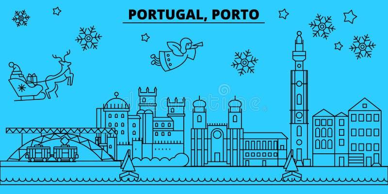 Ορίζοντας χειμερινών διακοπών της Πορτογαλίας, Πόρτο Χαρούμενα Χριστούγεννα, διακοσμημένο καλή χρονιά έμβλημα με Άγιο Βασίλη Πορτ απεικόνιση αποθεμάτων