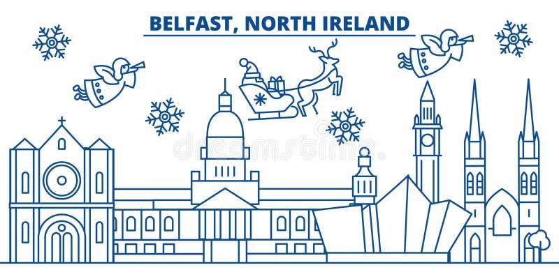Ορίζοντας χειμερινών πόλεων της βόρειας Ιρλανδίας, Μπέλφαστ εύθυμος διανυσματική απεικόνιση
