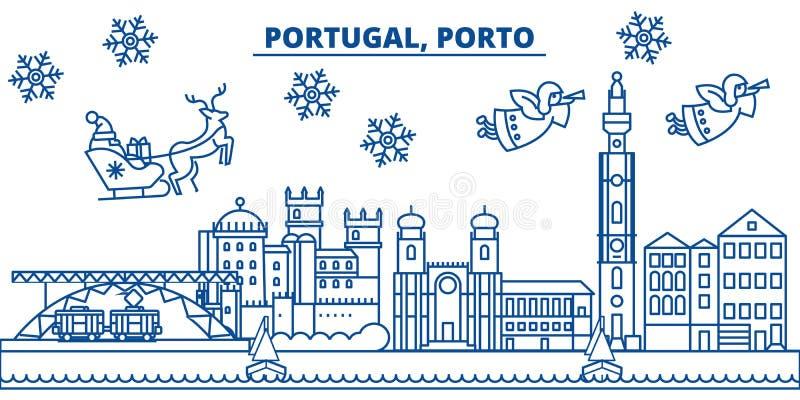 Ορίζοντας χειμερινών πόλεων της Πορτογαλίας, Πόρτο Χαρούμενα Χριστούγεννα, ευτυχής διανυσματική απεικόνιση