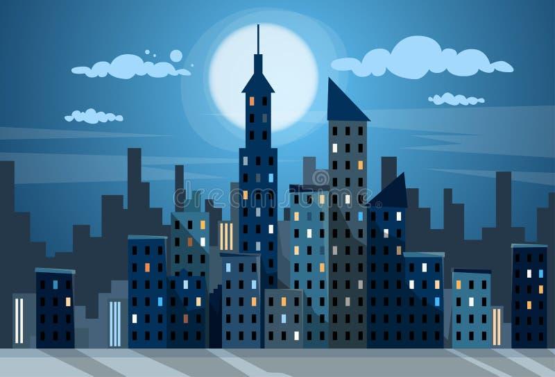 Ορίζοντας χιονιού εικονικής παράστασης πόλης άποψης νύχτας ουρανοξυστών πόλεων διανυσματική απεικόνιση