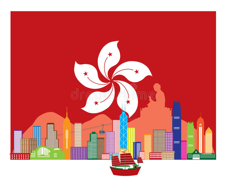 Ορίζοντας Χονγκ Κονγκ και άγαλμα του Βούδα στη διανυσματική απεικόνιση σημαιών του HK απεικόνιση αποθεμάτων